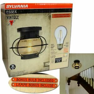 Essex Cage Vintage Glass Ceiling Dimmable Light Fixture (LED Bulb Included) Lamp