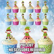 PRETAGLIATO Natale Elf/Elfi Commestibili Cupcake Topper Torta Decorazioni Confezione da 12