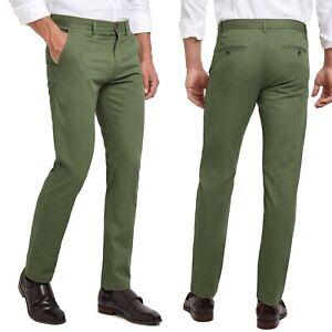 Pantaloni Slim Uomo Casual Chino Cotone Comfort Tinta Unita Verde 8261