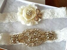 Wedding Bridal Garter Set - Gold Crystal & Ivory Flower on OFF WHITE Garter Set