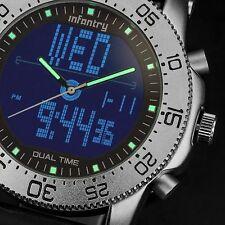 INFANTRY Mens Digital Quartz Wrist Watch Chronograph Sport Black Rubber Luxury