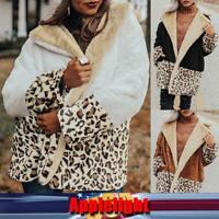 US Women's Warm Lapel Plush Jacket Stitching Leopard Coat Outwear Overcoat Tops