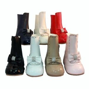 BNWT Girls Spanish style  boots Tan, Navy, Red, Cream, Black, White, Baby pink