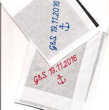 2 x  Taschentuch Anker oder ,Herz und 1 Zeile Text