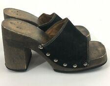 VTG Wooden Platform Open Toe Mules Wedge Thick Heel Black Leather Boho Size 9 ?