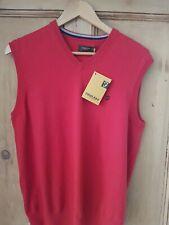 Farah V Neck Tank Top Vest Sleeveless Fine Knit Wool Blend Top BERRY MED New