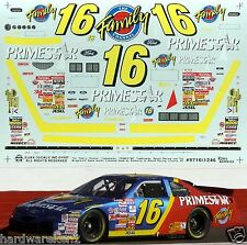 NASCAR DECAL #16 FAMILY CHANNEL - PRIMESTAR 1997 FORD THUNDERBIRD TED MUSGRAVE