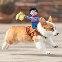 Halloween Cute Pet Dog Cowboy Funny Soft Puppy Costume Dog Rider Clothes Custome