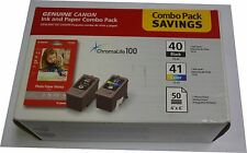 Genuine Canon 0615B009[AC] (PG-40/CL-41) ChromaLife100 Ink & Paper Combo Pack