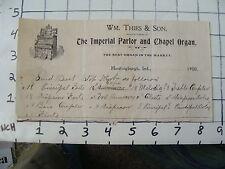 Original Vintage billhead: PAINO & ORGAN: 1900 wm. Thies & Son, ORGAN