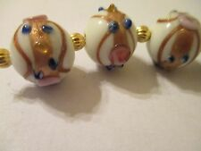 12 Wedding Cake 16x14 mm Lampwork Glass White Beads Gold Detail   VN30