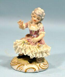 Original Vintage DRESDEN Germany Lace Lady Porcelain Figurine