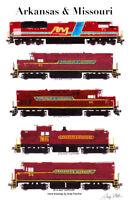"Arkansas & Missouri Locomotives 11""x17"" Railroad Poster by Andy Fletcher signed"