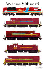 "Arkansas & Missouri Locomotives 11""x17"" Railroad Poster by Andy Fletcher signed"