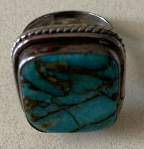 Mojave Turquoise Men's Ring Size 8, 925, 10 G Total Weight