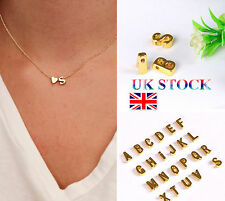 UK Ladies Girls 26 Initial Letter Heart Chain Alphabet Charm Pendant  Necklace