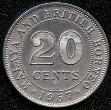 1957 Malaya / British Borneo 20 Cent Coin