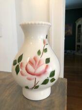 New ListingVintage Milk Glass Hurricane Lamp Chimney Globe Floral Flowers Roses Pink Green