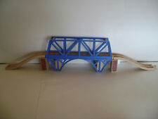 "Thomas the Train Wooden 12"" Long BLUE SODOR BAY BRIDGE w/ Road Line Ramps Track"