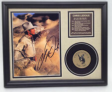 Chris Ledoux Rodeo Champion Cowboy signed photo tribute with mini 33 rpm record