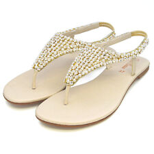 Womens Flat Sandals Diamante Pearl Ladies Slingback Holiday Casual Party Shoes