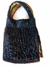 JET BLACK GLASS MICRO BEAD ANTIQUE PURSE VICTORIAN FRINGE MOURNING