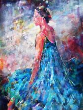 """Hermoso sera Caballero s.w.a original """"Azul Bailarina"""" Ballet Danza Pintura"""
