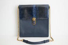 Oscar De La Renta Slim Sloane Genuine Snakeskin Leather Shoulder Bag Navy