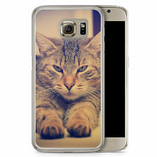 Samsung Galaxy S6 Hard Case Hülle - Angry Cat Foto Motiv Design Katze Tiere Sch
