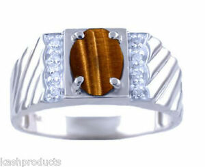 Mens Gold Ring Diamond Tigers Eye 14K Yellow or White Gold