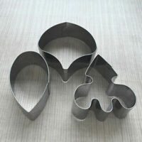 3pcs/Set STAINLESS Steel Cookie Biscuit Pastry Fondant Cake Orchid F7O0