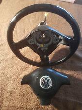 VW Golf 4 Cabrio-Lederlenkrad-Sportlenkrad-Original-Schleifring-3-Speichen Airba