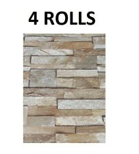 Natural Stone 3D Wallpaper Slate Stone Brick Effect Feature Washable Vinyl x 4
