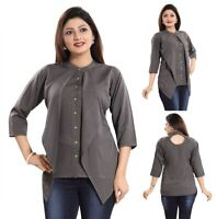Women Indian Short Kurti Tunic Top Grey 3/4 Sleeves Kurta Shirt Dress SC2307