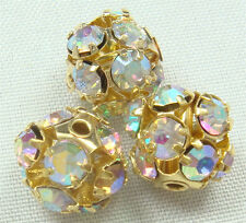 5pcs gold Spacer Rhinestone Spacer Bead Decorative Accessories 8mm 45ql