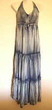 JUST JEANS CHAMBRAY TIE DYE DENIM LOOK MAXI HALTER DRESS BNWT RRP $89.95 SIZE 8