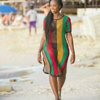 Rasta Multicolour Midi Dress Slit String mesh fishnet beach cover up crochet