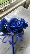 Royal blue and white wedding toss or attendant bouquet Rush orders Available