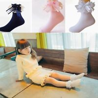 Baby Girls Lace Ruffle Frilly Bow Ankle Socks Sweet Princess Cotton Short Socks