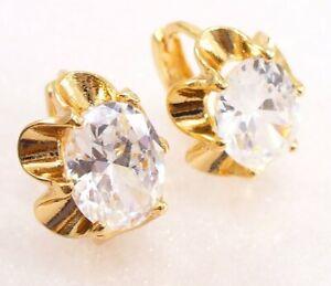 Women 18K Yellow Gold Plated Simulated Diamond Small Flower Huggie hoop Earrings