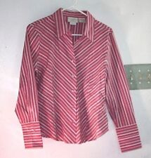 Worthington Shirt Womens size 10 P Petite Blouse Pink Stretch 5% Spandex  --RRX