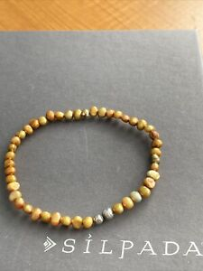 Silpada Stretch Bracelet Copper Pearls and Sterling Silver Single Bracelet B1369