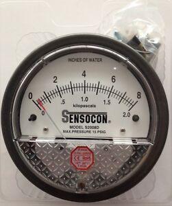 Sensocon Pressure Gauge 0-2kPA/0-8 In w.c. alternative to Dwyer Magnehelic