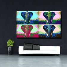 LEINWANDBILD POPART ELEFANT AFRIKA STEPPE SAFARI ANDY WARHOL BUNT 50x30 cm