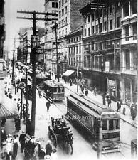 Photo. ca 1909. Montreal, Canada. Sky View St. James Street - Tram Traffic