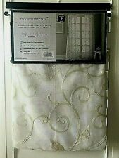 Modern Threads Leaf Swirl Embroidered Curtain Panel Pair - 37x84 - White/Ivory
