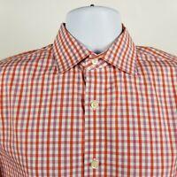 Banana Republic Non Iron Slim Fit Mens Orange Check L/S Dress Button Shirt Small