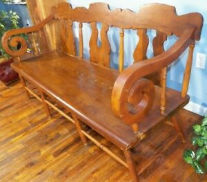 Antique Country Empire Settee Bench wide Plank Seat hall porch Primitive