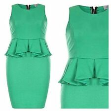 Green Size 16 Simply Fabulous Flattering Peplum DRESS Party Evening Be Occasion