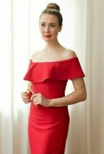 Zara red off the shoulder cocktail dress Size L BNWOT Bloggers favourite